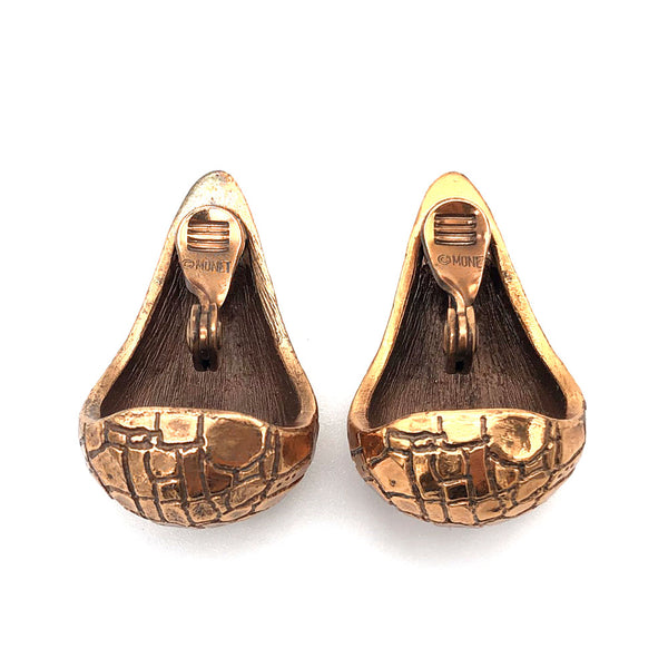 【USA輸入】ヴィンテージ モネ アリゲーター イヤリング/Vintage MONET Copper Alligator Clip On Earrings