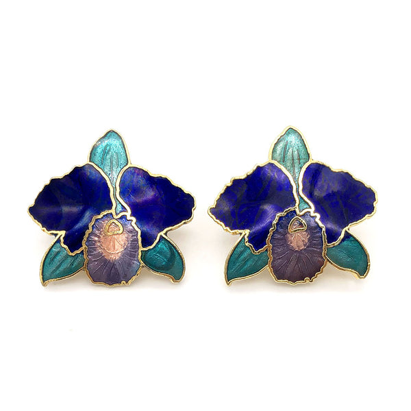 【UK輸入】ヴィンテージ ブルー オーキッド エナメル イヤリング/Vintage Cloisonne Blue Orchid Clip On Earrings