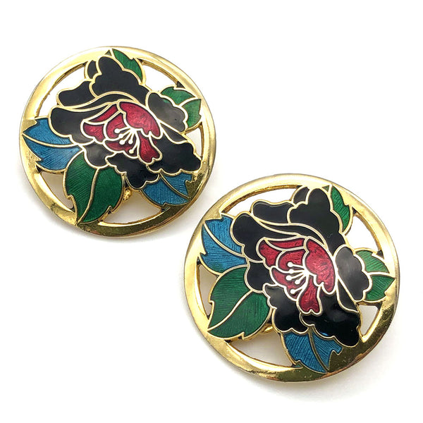 【USA輸入】ヴィンテージ エナメル フラワー イヤリング/Vintage Cloisonne Flower Clip On Earrings
