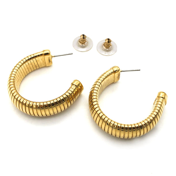 【USA輸入】ヴィンテージ ゴールド フープ ピアス/Vintage Gold Hoop Post Earrings