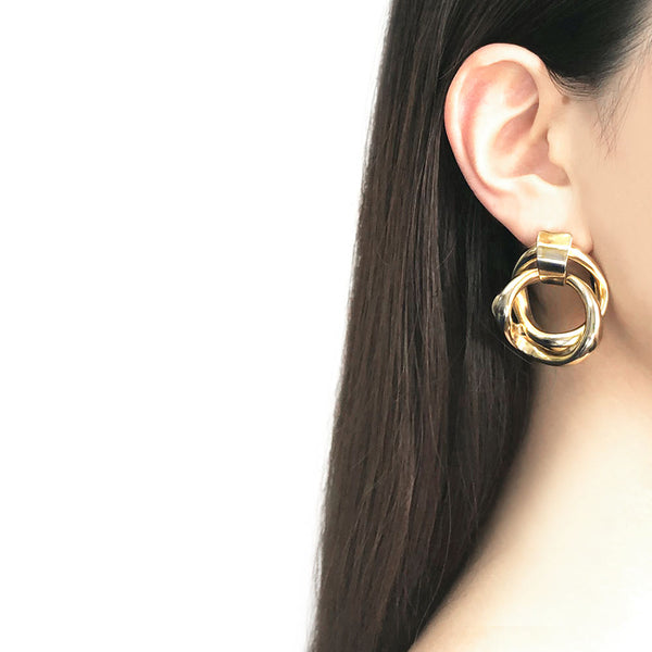 【USA輸入】ヴィンテージ ゴールド ダブルフープ ピアス/Vintage Gold Double Hoop Post Earrings