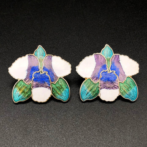 【USA輸入】ヴィンテージ ブルーグリーン オーキッド エナメル ピアス/Vintage Cloisonne Blue Green Orchid Post Earrings