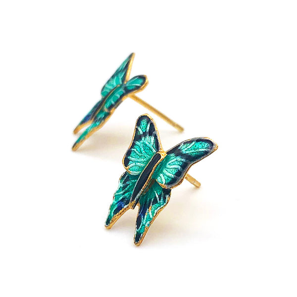 【USA輸入】ヴィンテージ エメラルド バタフライ エナメル ピアス/Vintage Cloisonne Butterfly Post Earrings