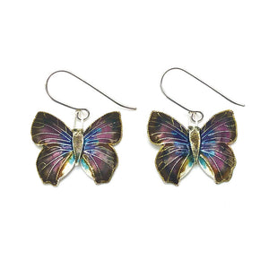 【USA輸入】ヴィンテージ パープル バタフライ エナメル ピアス/Vintage Cloisonne Butterfly Dangle Earrings