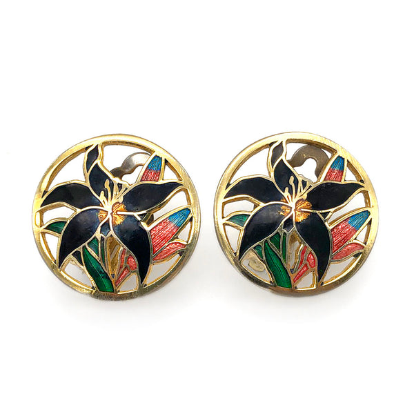 【USA輸入】ヴィンテージ ブラックリリー イヤリング/Vintage Black Lily Cloisonne Clip On Earrings