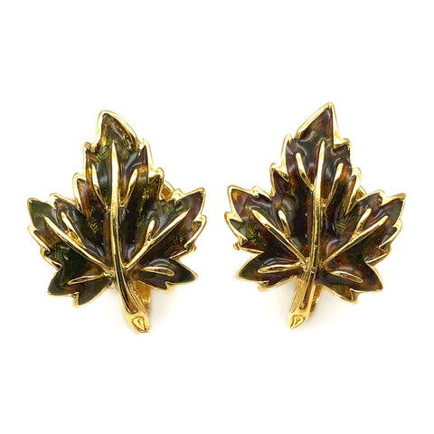 【USA輸入】 ヴィンテージ ドーラン メープルリーフ イヤリング/Vintage D'ORLAN Maple Leaf Clip On Earrings