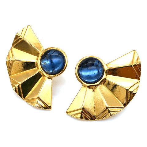 【USA輸入】ヴィンテージ ブルー ファン イヤリング/Vintage Blue Fan Clip On Earrings