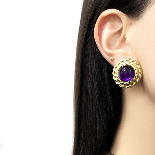 【USA輸入】ヴィンテージ  パープル カボション イヤリング/Vintage Purple Cabochon Clip On Earrings