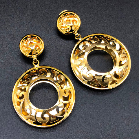 【USA輸入】ヴィンテージ ゴールド エキゾチック イヤリング/Vintage Gold Huge Exotic Clip On Earrings