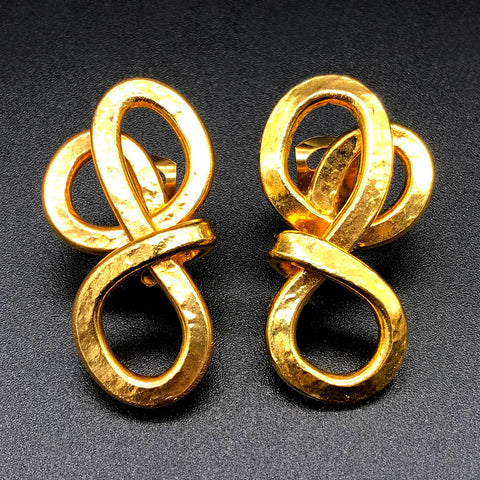 【USA輸入】ヴィンテージ ゴールド ノット イヤリング/Vintage Gold Knot Clip On Earrings