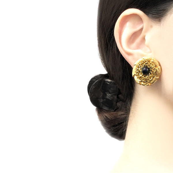 【USA輸入】ヴィンテージ  ブラック  チェーン イヤリング/Vintage Black Chain Clip On Earrings