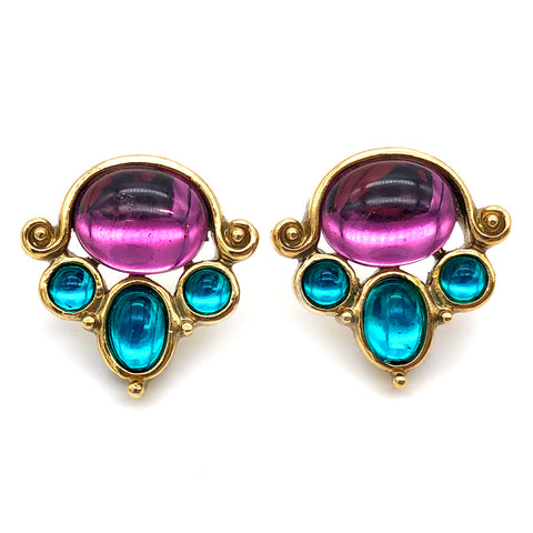 【USA輸入】ヴィンテージ ピンク ブルー カボション ピアス/Vintage Pink Blue Cabochon Post Earrings