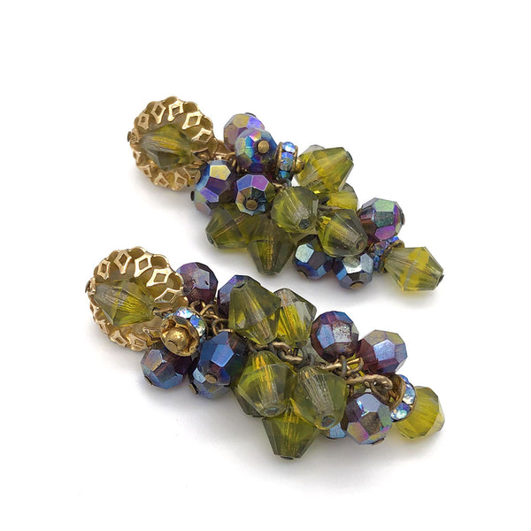【USA輸入】ヴィンテージ グリーン ガラスビーズ イヤリング/Vintage Green Glass Beads Clip On Earrings