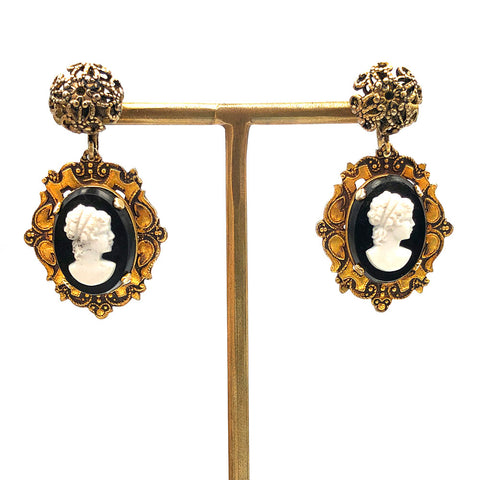 【USA輸入】ヴィンテージ ブラック カメオ イヤリング/Vintage Black Cameo Clip On Earrings