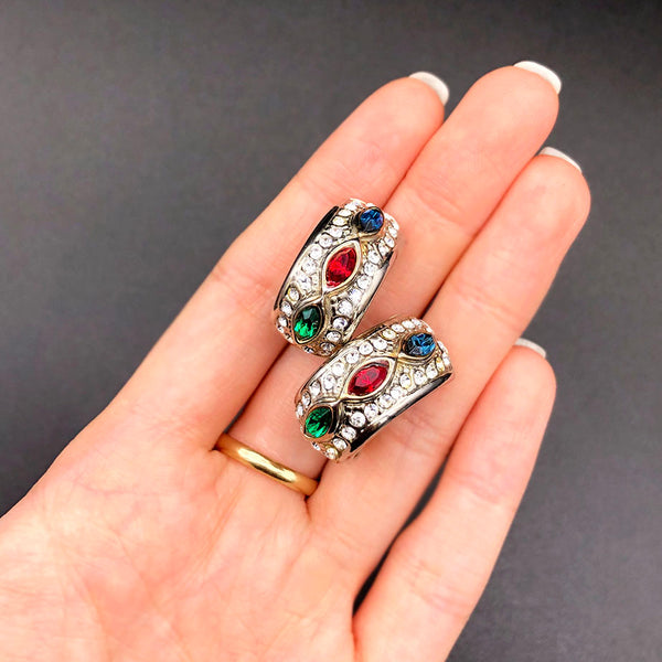 【USA輸入】ヴィンテージ トリカラー パヴェ イヤリング/Vintage Tricolor Pave Clip On Earrings