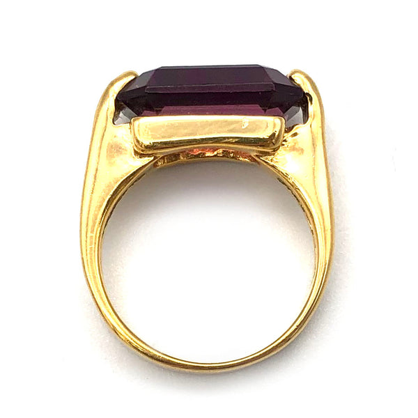 【USA輸入】ヴィンテージ 18KT H.G.E パープルストーン リング/Vintage 18KT H.G.E Purlple Stone Ring