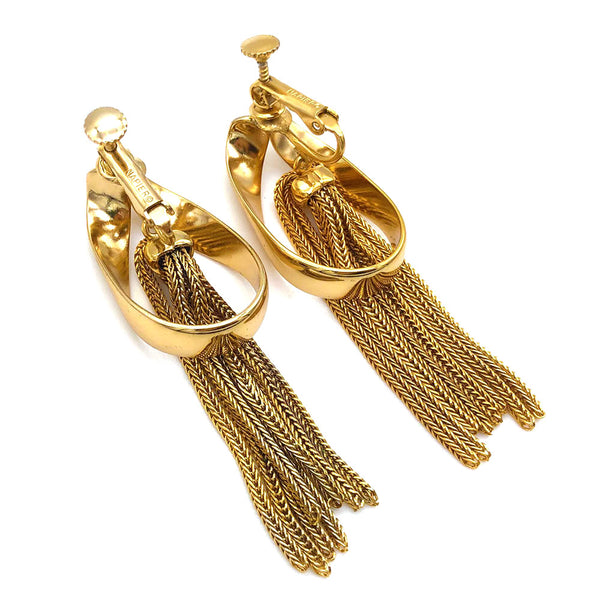 【USA輸入】ヴィンテージ ネイピア チェーン イヤリング/Vintage Chain NAPIER Clip On Earrings
