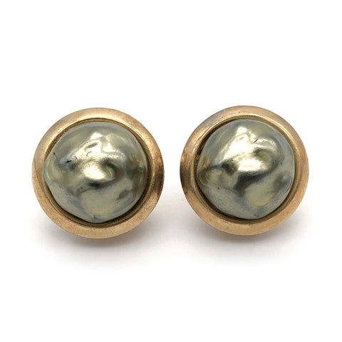 【USA輸入】ヴィンテージ バークレー グレー バロックパール イヤリング/Vintage Barclay Grey Baroque Pearl Clip On Earrings