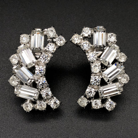 【USA輸入】ヴィンテージ クリア ラインストーン イヤリング/Vintage Clear Rhinestones Clip On Earrings