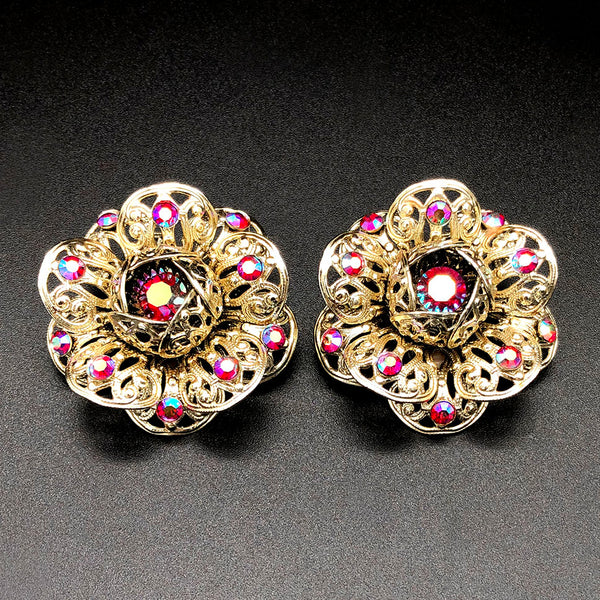 【USA輸入】ヴィンテージ サラ・コベントリー レッド フラワー イヤリング/Vintage S ARAH COVENTRY Red Flower Clip On Earrings