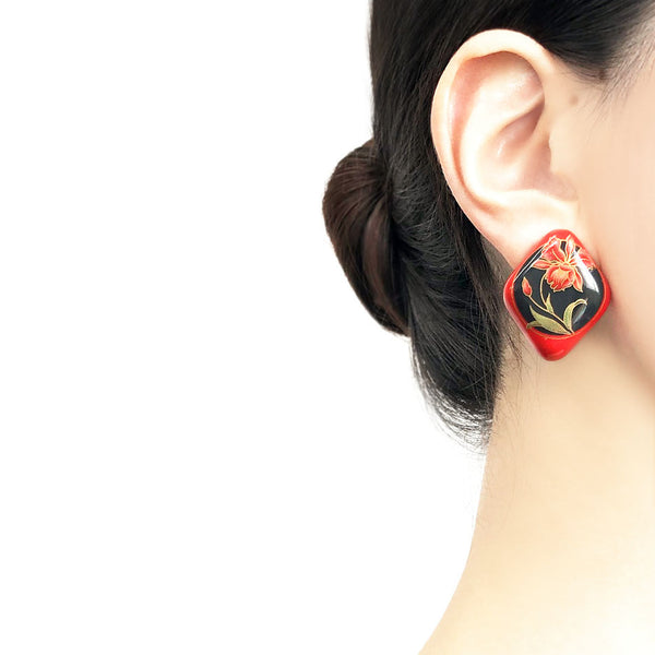 【USA輸入】ヴィンテージ レッド オーキッド ピアス/Vintage Red Orchid Post Earrings