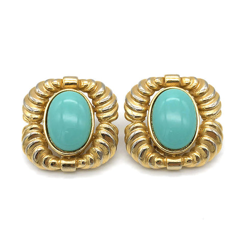 【USA輸入】ヴィンテージ ターコイズ カボション イヤリング/Vintage Turquoise Cabochon Clip On Earrings