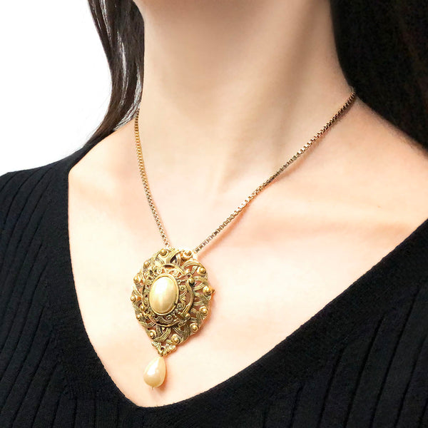 【USA輸入】 ヴィンテージ エイボン パール ブローチ・ネックレス/Vintage AVON Pearl Brooch Necklace