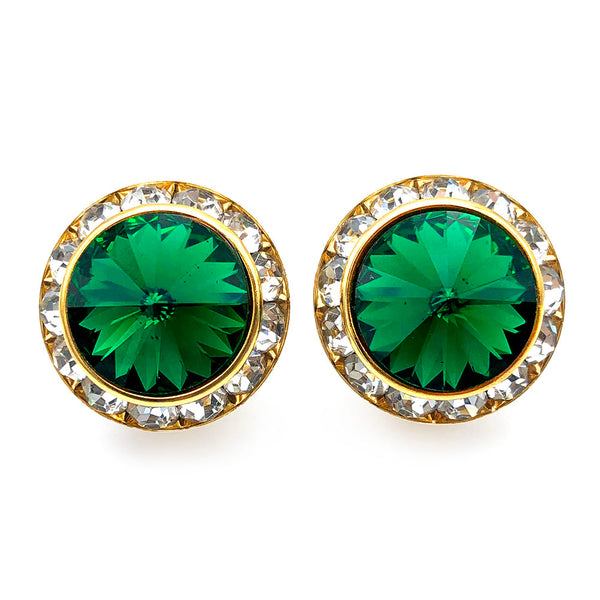 【USA輸入】ヴィンテージ エメラルドグリーン チャネルセット イヤリング/Vintage Emerald Channel Set Clip On Earrings