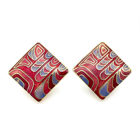 【USA輸入】ヴィンテージ アブストラクト エナメル イヤリング/Vintage Cloisonne Abstract Clip On Earrings