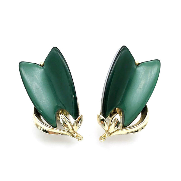 【USA輸入】ヴィンテージ リスナー フォレストグリーン リーフ イヤリング/Vintage LISNER Forest Green Leaf Clip On Earrings