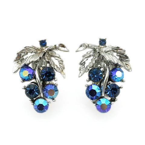 【USA輸入】ヴィンテージ リスナー 青葡萄 イヤリング/Vintage LISNER Blue Grape Clip On Earrings