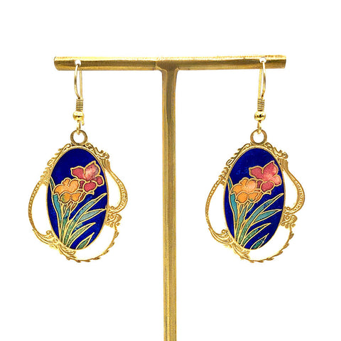 【USA輸入】ヴィンテージ フラワー エナメル ピアス/Vintage Cloisonne Flower Dangle Earrings