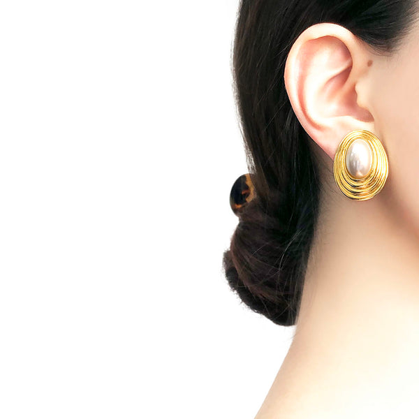 【USA輸入】ヴィンテージ パール イヤリング/Vintage Pearl Clip On Earrings