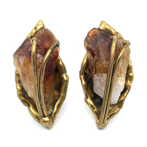 【USA輸入】ヴィンテージ ブラウンストーン 原石 イヤリング/Vintage Raw Brown Stone Clip On Earrings