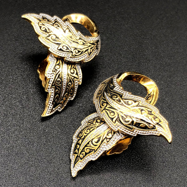 【USA輸入】ヴィンテージ  ダマシン リーフ イヤリング/Vintage Damascene Leaves Clip On Earrings