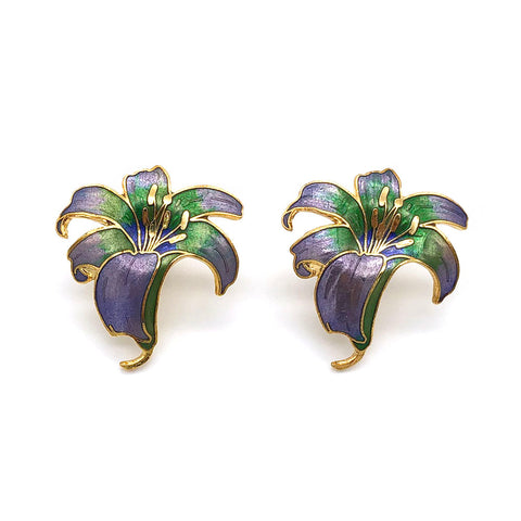 【UK輸入】ヴィンテージ リリー エナメル ピアス/Vintage Cloisonne Lily Post Earrings