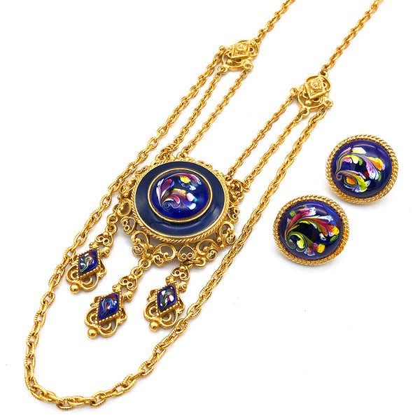 【USA輸入】ヴィンテージ フロレンザ ブルーエナメル ネックレス/Vintage FLORENZA Blue Enameled Necklace