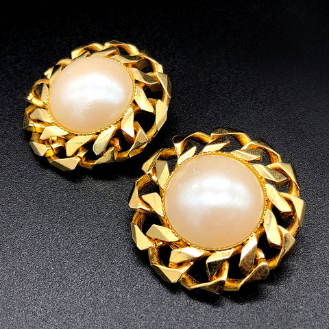 【USA輸入】ヴィンテージ イタリア製 パール イヤリング/Vintage Italy Pearl Clip On Earrings