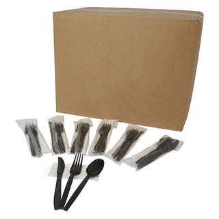 Cutlery Set Black Heavy-duty - 500Pcs