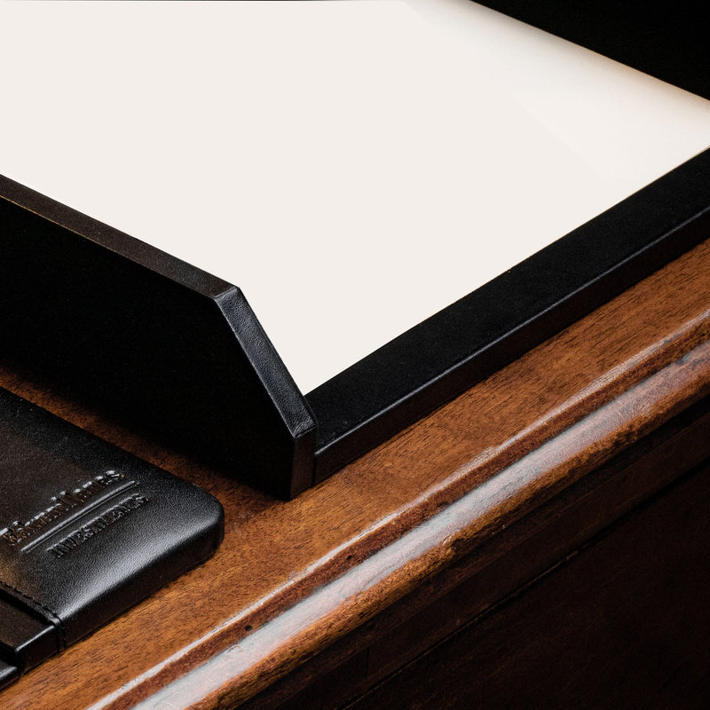 Black Leather Front-Load Letter Tray