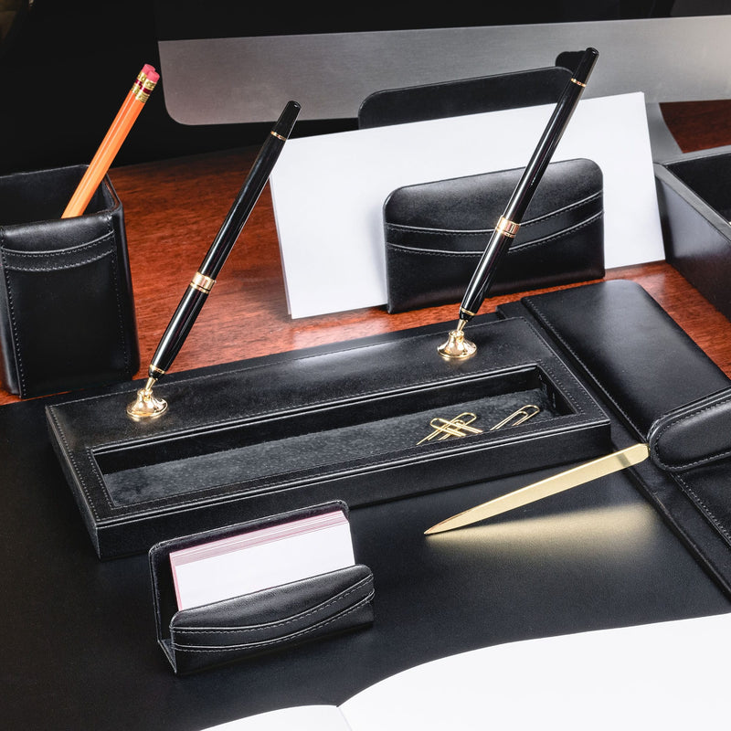 Classic Black Leather Double Pen Stand with Gold Accents