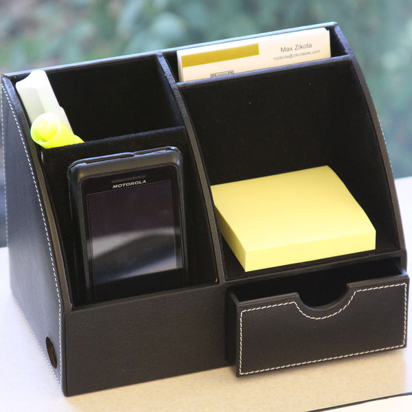 Classic Black Leather Desktop Organizer