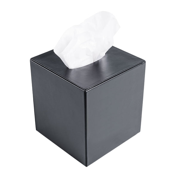 Classic Black Leather Tissue Box Cover