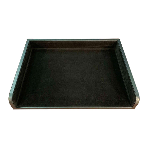 Classic Black Leather Side Load Letter Tray