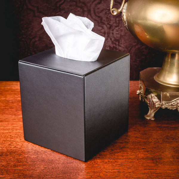 Black Leatherette Tissue Box Cover