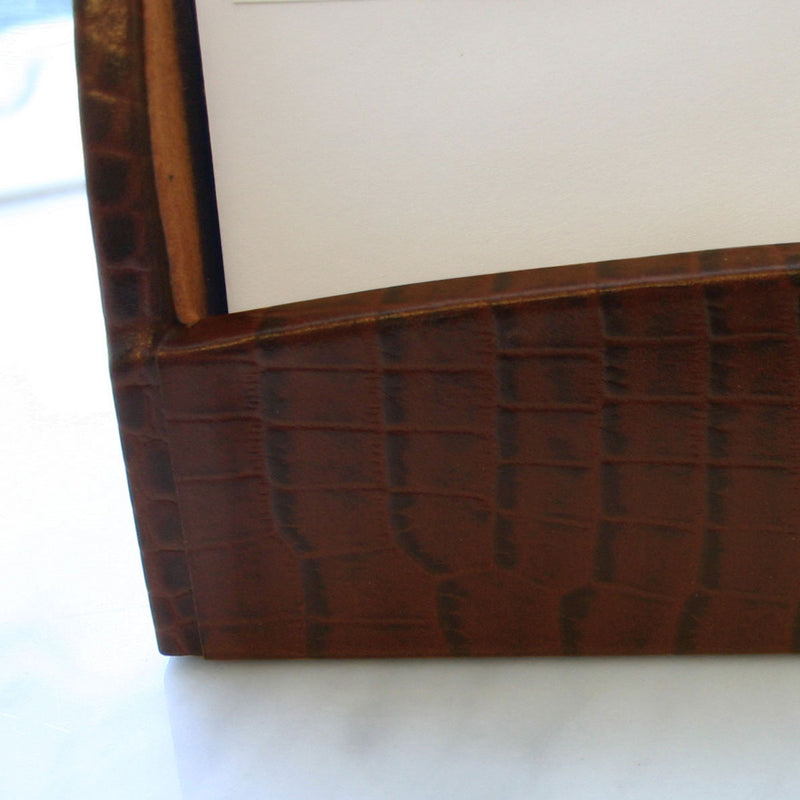 Brown Crocodile Embossed Leather Letter Holder