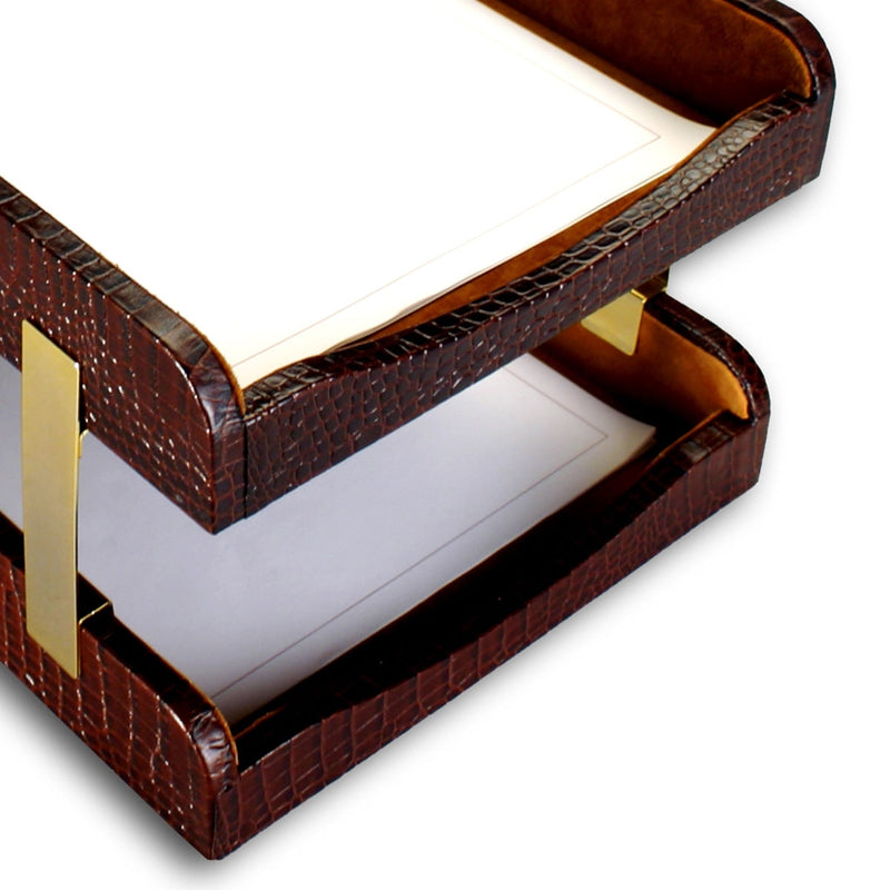 Brown Crocodile Embossed Leather Double Letter Trays