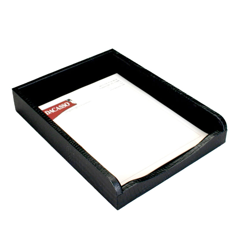Black Crocodile Embossed Leather Letter Tray
