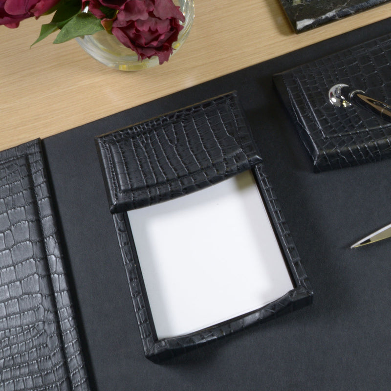 "Black Crocodile Embossed Leather 4"" x 6"" Memo Holder"