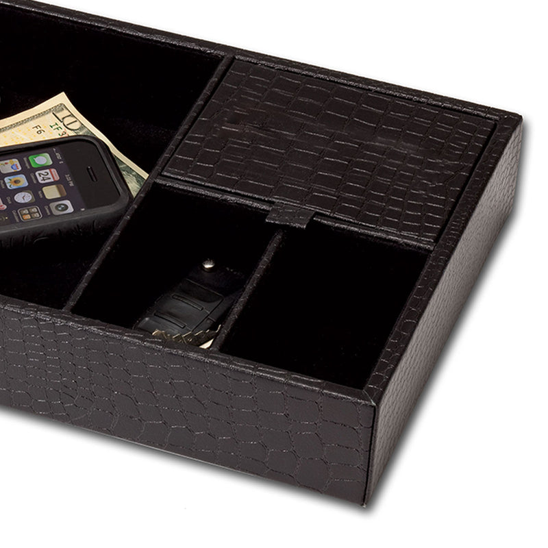 Black Crocodile Embossed Standard Valet Tray